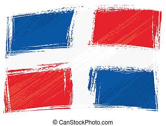 grunge, bandera, república, dominicano