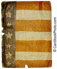 grunge, bandera, textura, norteamericano, papel, sucio, plano de fondo