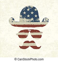 grunge, bandiera americana, themed, retro, divertimento,...
