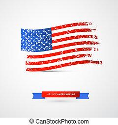 grunge, -, bandiera americana, vettore, sporco