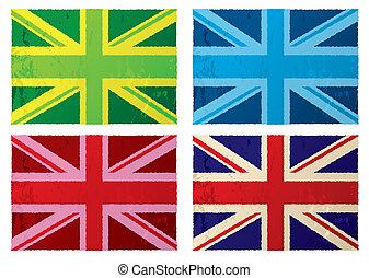 grunge, bandiere, britannico