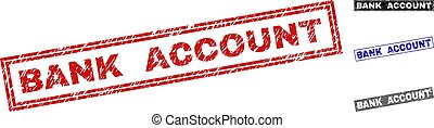 Grunge BANK ACCOUNT Scratched Rectangle Stamps - Grunge BANK...