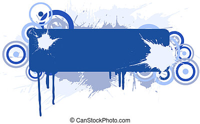 Grunge banner. - Blue grunge placard. Vector illustration.