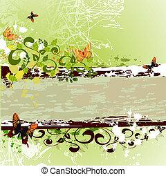 grunge banner design with butterflies