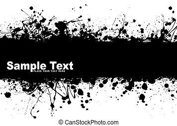 grunge banner ink - Black ink splat background with room to...