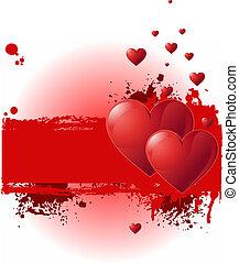 grunge, banner, valentine