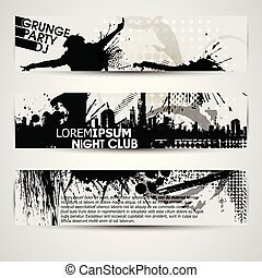 Grunge banner with an inky dribble strip