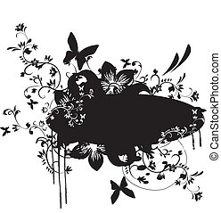 Grunge banner with floral element
