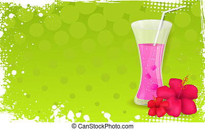 Grunge banner with glass of juice and hibiscus flowers