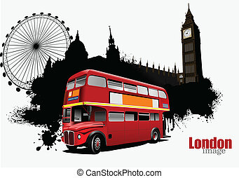 Grunge banner with London and bus images. Vector ...