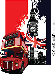 Grunge banner with London and bus images. Vector...