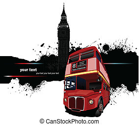 Grunge banner with London and bus
