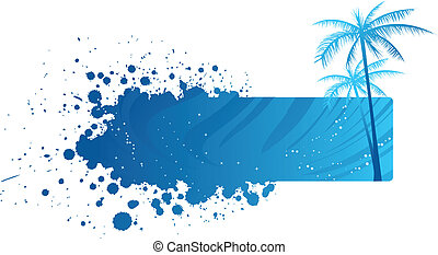 Grunge banner with palm trees
