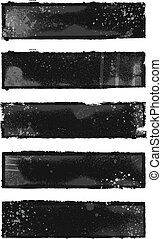Grunge banners - Set of 5 black and gray grunge banner...