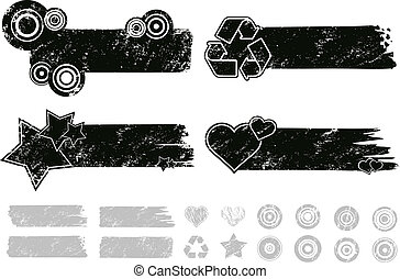 Grunge Banners - Each element separately for making your own...