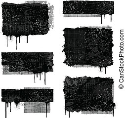 Set of various black and gray grunge banner designs