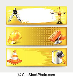 Grunge banners with construction objects vector