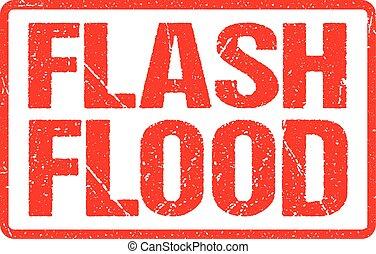 grunge, bannière, affligé, flash, texture, signe, caoutchouc, inondation, avertissement, rouges