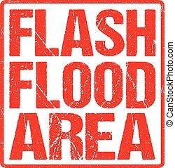 grunge, bannière, secteur, affligé, flash, texture, signe, caoutchouc, inondation, avertissement, rouges