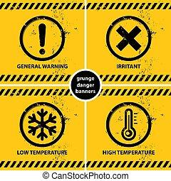 grunge, bannières, avertissement, ensemble