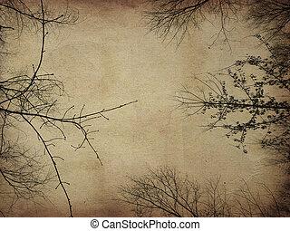 Grunge bare trees - Dark bare trees silhouettes on grunge...
