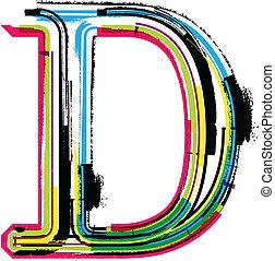 grunge, barwny, litera, d