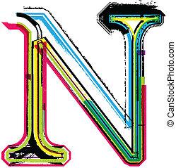 grunge, barwny, litera n