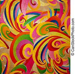 grunge, barwny, rocznik wina, krzywe, papier, tło, kwiatowy