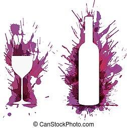 grunge, barwny, szkło, plamy, butelka, przód, wino