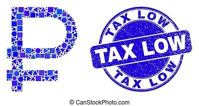 grunge, bas, symbole, timbre, rouble, bleu, impôt, cachet, mosaïque