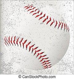 Grunge Baseball - A new white baseball with red stitching on...