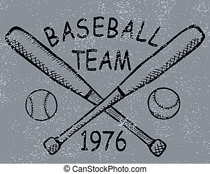 Grunge baseball design t-shirt Printing. Vector