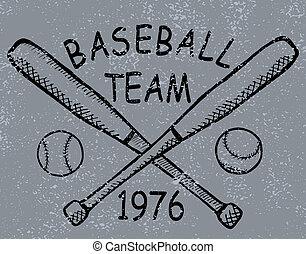 Grunge baseball design t-shirt Printing. Vector