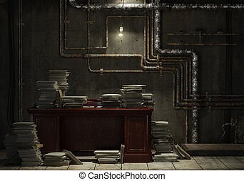 grunge basement office - Grunge basement with desk and lots...