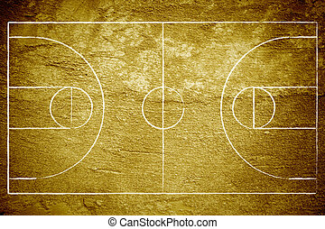 Grunge Basketball Court - Grunge background of a basketball...