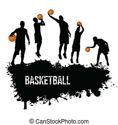 Grunge basketball poster with players silhouette, vector...