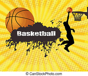 Grunge basketball poster with player and ball, vector...