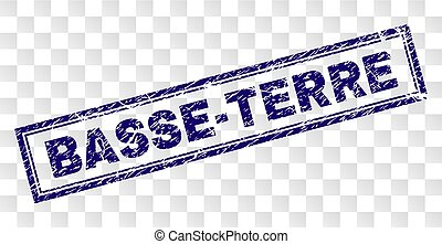 BASSE-TERRE stamp seal print with rubber print style and double framed rectangle shape. Stamp is placed on a transparent background. Blue vector rubber print of BASSE-TERRE text with dust texture.