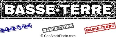 Grunge BASSE-TERRE rectangle stamp seals isolated on a white background. Rectangular seals with grunge texture in red, blue, black and gray colors.