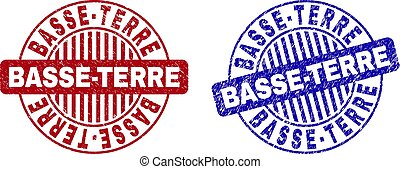 Grunge BASSE-TERRE round stamp seals isolated on a white background. Round seals with grunge texture in red and blue colors.