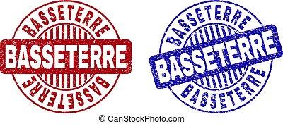 Grunge BASSETERRE Textured Round Stamp Seals