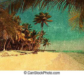 grunge beach - grunge image of tropical beach