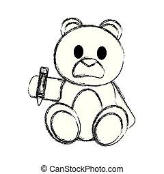 grunge bear teddy cute toy with crayon