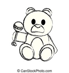 grunge bear teddy cute toy with rattle