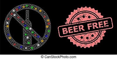 Grunge Beer Free Stamp Seal and Network Forbidden Alcohol with Lightspots