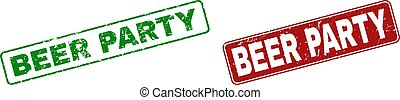 Grunge BEER PARTY Stamp Seals with Rounded Rectangle Frames