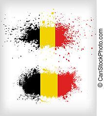 Grunge Belgian ink splattered flag
