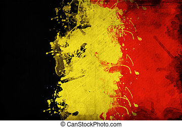 Grunge Belgium flag, image is overlaying a detailed grungy texture