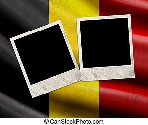 Grunge Belgium flag with photo frames