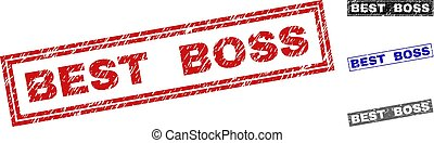 Grunge BEST BOSS Textured Rectangle Stamps